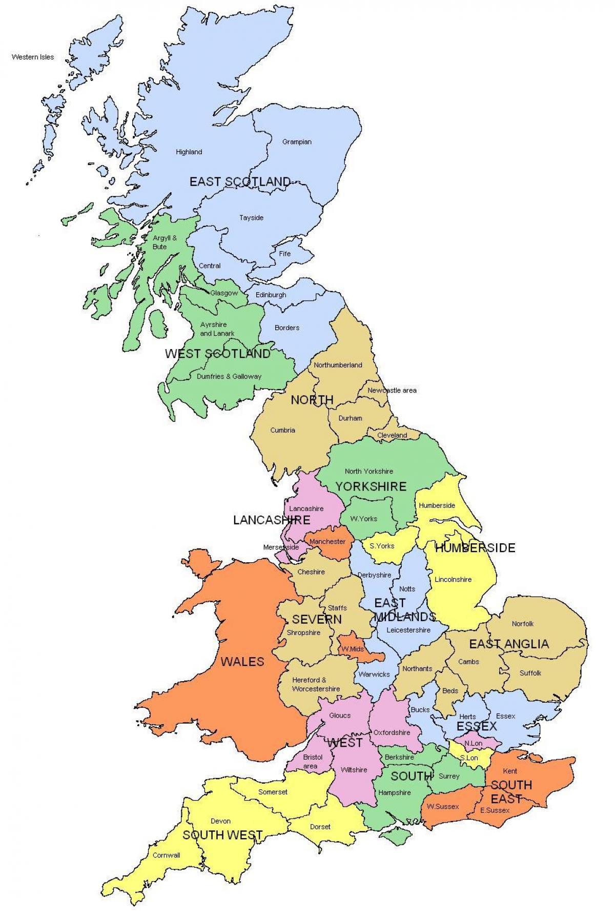 Cartina Gran Bretagna Regioni.Mappa Del Regno Unito Contee Regioni Uk Mappa Regioni E Contee Europa Del Nord Europa