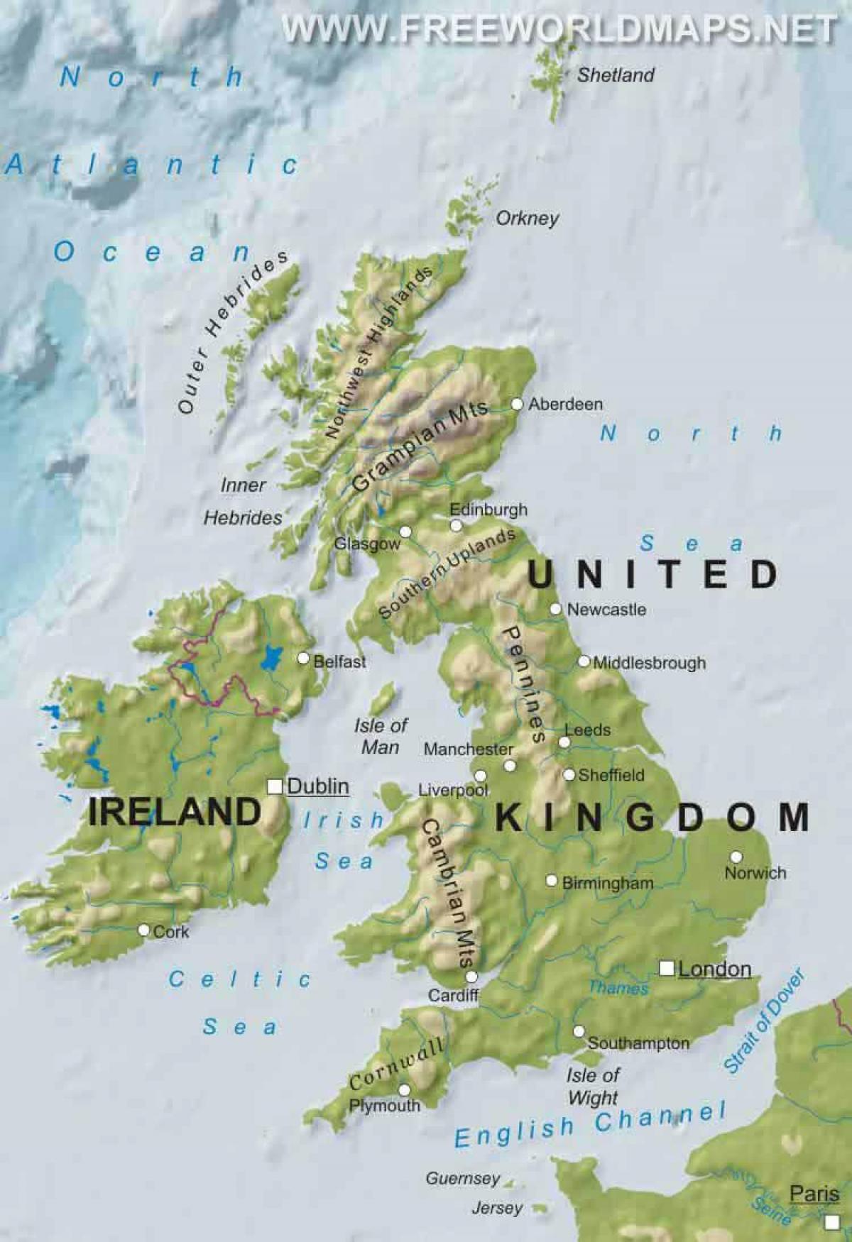 Cartina Geografica Fisica Della Gran Bretagna.Mappa Fisica Del Regno Unito Mappa Fisica Di Gran Bretagna Europa Del Nord Europa